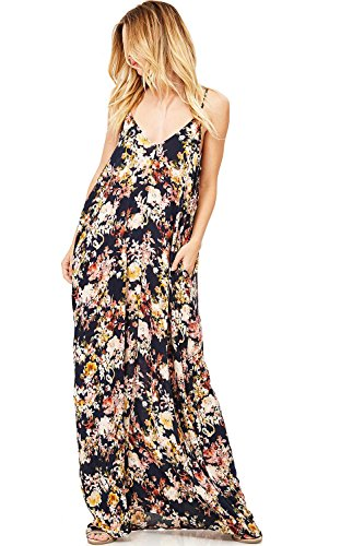 LOVE STITCH Women's Long Floral Printed Maxi Dress (S/M, Black)