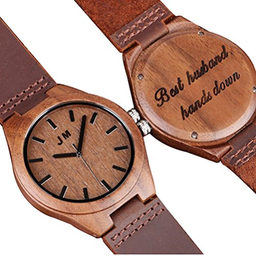 Personalized Handcrafted Wood (Personalized Groomsmen Watch Custom Engraved Wooden Watch Anniversary Gifts for Men Gift for Husband)