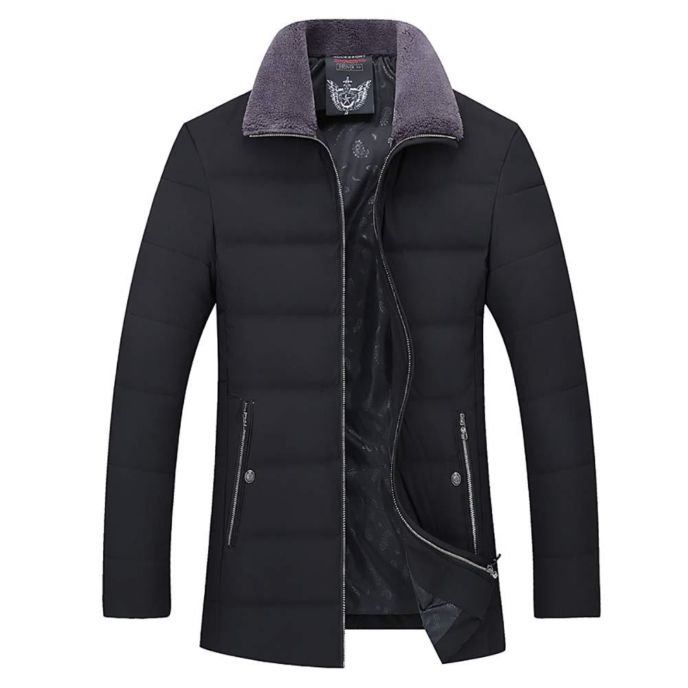 Herren-Down-Jacke, Massive Farbe Fellkragen Reißverschluss Kann Im Winter Dicke Ente Down-Sportjacke Gelagert Werden,schwarz,XXXL