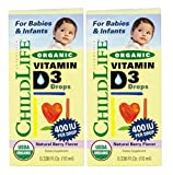 ChildLife Essentials Organic Vitamin D3 Liquid for Infants, Babys, Kids, Toddlers, Children, and Teens, Natural Berry .338 Fluid Ounce (Pack of 2)