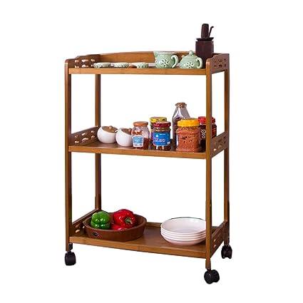 TIDLT Carrito De Trolley De Almacenamiento De Cocina De Bambú De 3 Niveles, Organizador De