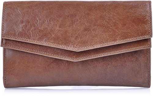 Leder Damen Geldbörse braun von MASQUENADA, Damen Portemonnaie Damen Portmonee Geldbeutel Brieftasche Echt Leder 18x11x2,5 (B x H x T) Cognac