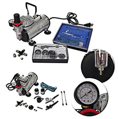 Anself Portable Airbrushing System Paint Set Compressor Kit with 2 Pistols