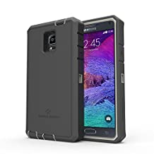 Samsung Galaxy Note 4 Rugged Case,Zerolemon ZeroShock Rugged Case + Belt Clip [Battery NOT Included] (Fits All Versions of Galaxy Note 4) [180 days ZeroLemon Warranty Guarantee] - Grey / Black