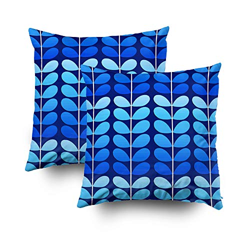 Musesh Pack of 2 mid Century Danish Leaves Navy and Cobalt Blue Cushions Case Throw Pillow Cover for Sofa Home Decorative Pillowslip Gift Ideas Household Pillowcase Zippered Pillow Covers 18X18Inch ()