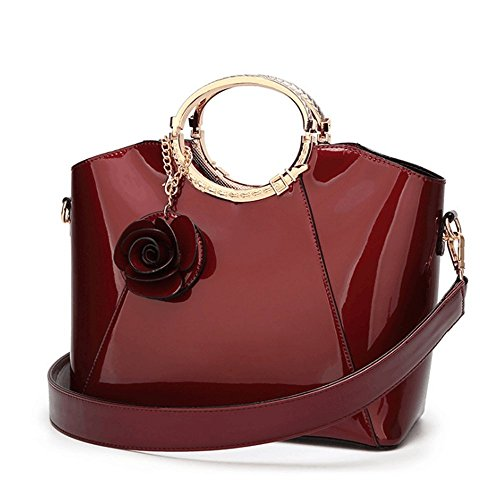 Feliciaaa Women's Patent Leather Structured Shoulder Handbag Ladies Evening Party Satchel Wine Red