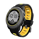 Smart Watch GPS Sports Watch Running watch Outdoor Sports Treadmill Walking Marathon ip68 Deep Waterproof Fitness Workout Support Compatible with iOS and Android (UW90-Yellow)