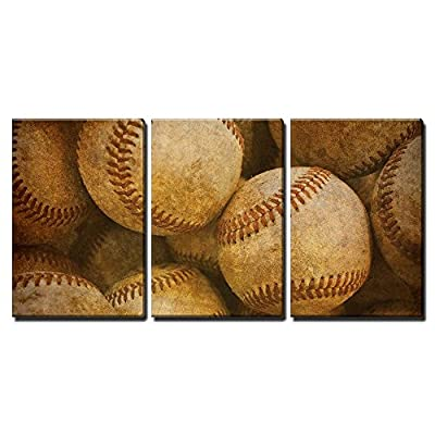 3 Piece Canvas Wall Art - Aged Vintage Baseball Background - Modern Home Art Stretched and Framed Ready to Hang - 24