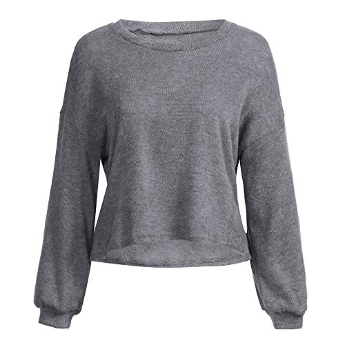 Loose Autumn O Neck Sleeve Womens Tops Warm DOLDOA Long Knitted Solid Pullover Casual Gray Tee Blouse q7Ax1