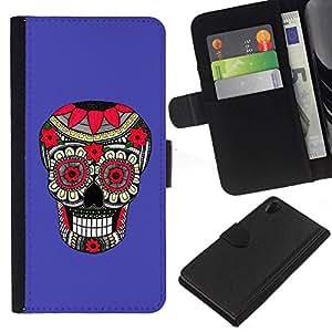 All Phone Most Case / Oferta Especial Cáscara Funda de cuero Monedero Cubierta de proteccion Caso / Wallet Case for Sony Xperia Z2 D6502 // Purple Pattern Floral Skull Death