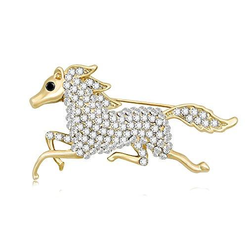 TUSHUO Galloping Horse Jockey Equestrian Animal Fashion Brooch Pin Charm Running Horse Jewelry (Gold)