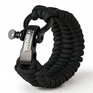 Titan Paracord Survival Bracelet | Made with Patented SurvivorCord (550 paracord, fishing line, snare wire, and waxed jute for fires). FREE eBooks Included. (Black, Small)