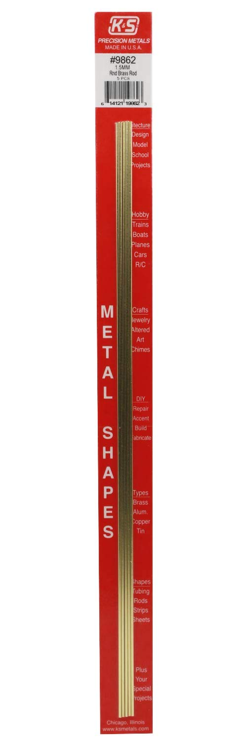 K&S Precision Metals 9862 Round Brass Rod, 1.5mm Diameter X 300mm Long, 5 Pieces per Pack, Made in The USA