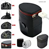 First2savvv Luxury Universal Worldwide Travel Power Adaptor and USB Charger - African / European / American / Australian / Holiday Plug Adapter - Covers Over 150 Countries for Samsung galaxy S5 & LG L40 D160 LG G-Flex D955 LG Nexus 5 D821 & HTC Desire 816