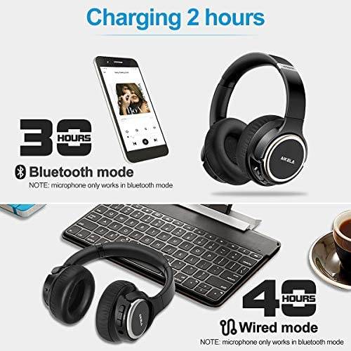 Active Noise Cancelling Headphones, AIKELA Wireless Bluetooth Over Ear Headset with Deep Bass Hi-Fi Sound Soft Earbuds 30H Playtime Fast Charging ANC Headphone for Online Class Travel Home Office 51Ljlwl9d8L