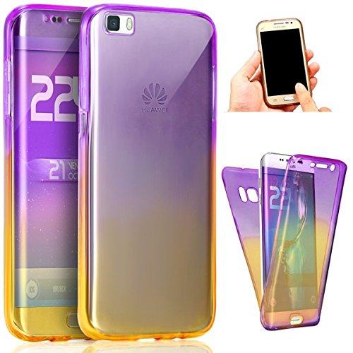 Carcasa para Huawei P9 Lite, Funda Huawei P9 Lite 360 Grados, EUWLY Full Body Delantera y Trasera Doble Protección Completa Cover Caso Ultra Delgado Degradado de Color Diseño Flexible Suave Transparen Púrpura+Amarillo