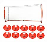 Bownet 7x16 Portable Soccer Goal with Brand Field Cones (10-Pack)