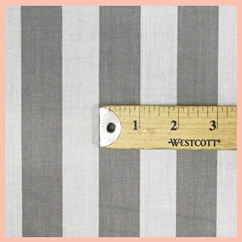 Stripe inch Poly Cotton Fabric 58 inches width sold by the yard Gray/White