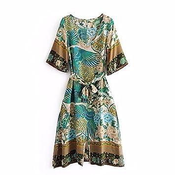 SONGQINGCHENG Boho Vestidos Estampados Florales Verde Vestido De Verano Hem Split Bohemia Mujer Vestidos,Verde