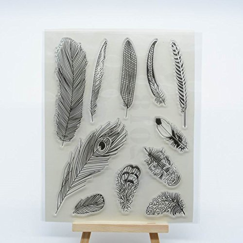 - Welcome to Joyful Home 1pc Feather Design Rubber Clear Stamp for Card Making Decoration and Scrapbooking