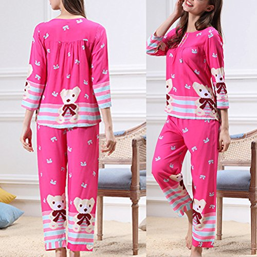 Zhhlaixing Cute Bear Nightwear Set Womens Classic Round Neck Pyjama 3 Colors M5115X Rose Red