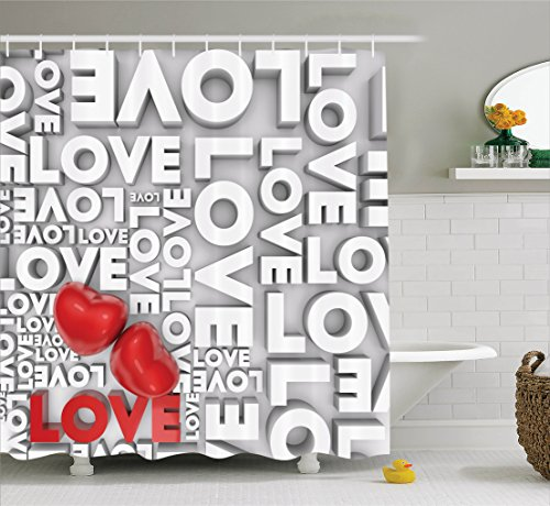 Ambesonne Love Decor Shower Curtain Set, Macro Big Texts Lettering Setting Passionate Emotions Feelings Valentines Design, Bathroom Accessories, 69W X 70L Inches, Grey Red White by Ambesonne