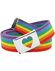 Girl's School Uniform Silver Flip Top Heart Belt Buckle with Canvas Web Belt Medium Rainbow