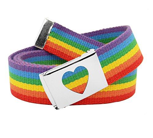 Women's Silver Flip Top Heart Belt Buckle with Canvas Web Belt Large Rainbow