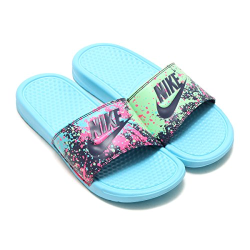 5012c43d4ddc Nike Benassi Just Do It Print Women s Slide Sandal Color Blue Raisin Mint (7)  - Buy Online in Oman.