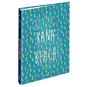 Archivador escolar A4 Kanabeach piña 4 anillos azul: Amazon.es: Oficina y papelería