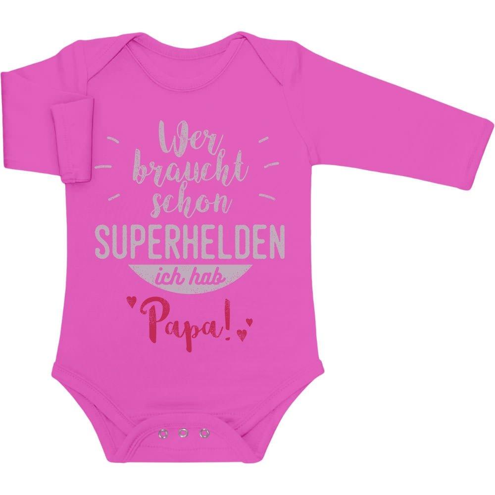 Wer braucht schon Superhelden ich hab Papa Baby Langarm Body VlDCSHg6W