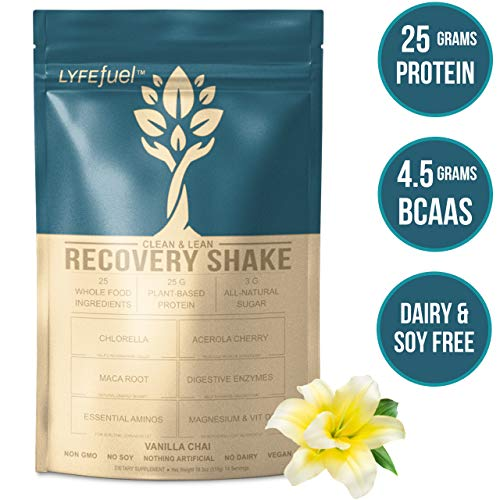 LYFE FUEL Post Workout Recovery Shake | Keto, Vegan & Gluten Free Plant Based Superfood Protein Mix | Vanilla Chai | 25g of Protein | Soy and Dairy Free | 1 LB Bag (Difference Between Pea Protein And Whey Protein)
