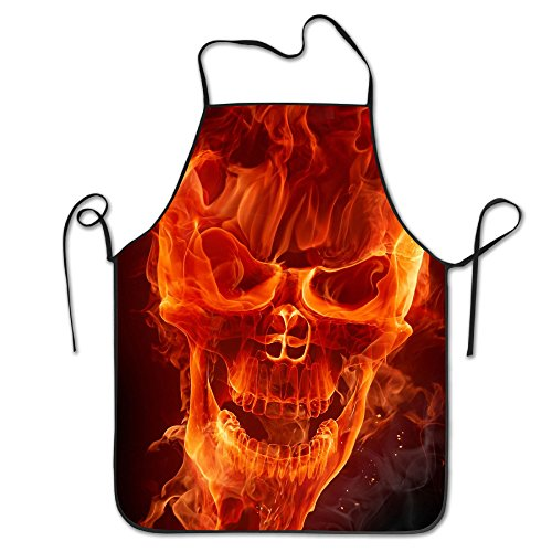 Fire Flame Skull Adjustable Apron For Kitchen BBQ Barbecue Cooking Women's Men's Great Gift For Wife Ladies Men (Canvas Barbecue Apron)