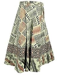 India Clothing Printed Cotton Wrap Skirt Dresses (Black)