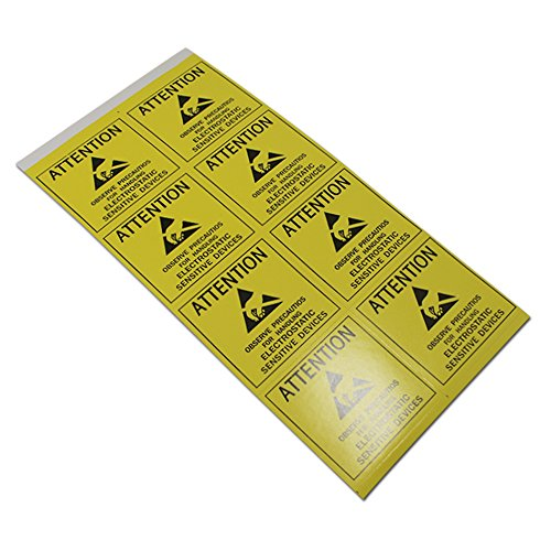 Self Adhesive ESD Anti-Static Electronic Products Packaging Tags All-purpose Adhesive Warning Caution Stickers for Safe Shipping Protection Reminder Seal Labels (Type#02/1.9x1.9 inch/100 pcs) from PABCK