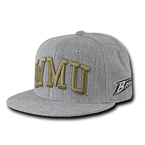 (Western Michigan University Broncos NCAA Flat Bill Heather Gray Snapback Baseball Cap Hat)