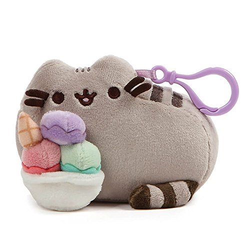GUND Pusheen Snackable Sundae Cat Plush Stuffed Animal Backpack Clip, Gray, 5