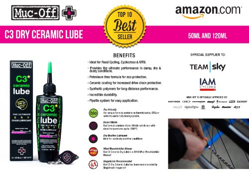 Muc Off 872 C3 Dry Ceramic Lube, 120ml (En, Fr, Es, Green)