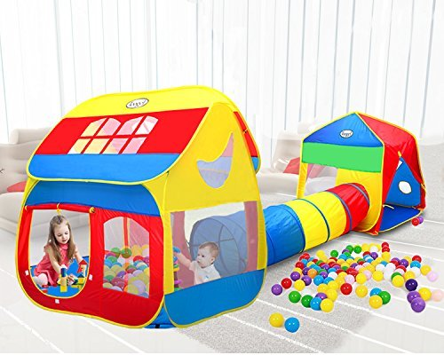 """Pop-up Play Tent with Crawl Tunnel , 3-in-1 Playhouse Tents for Kids, Girls & Boys , 154""""48""""56"""" Portable Large Game Tent with Carrying Case for Indoor & Outdoor use by Toogel (Tunnel Play Tent)"""