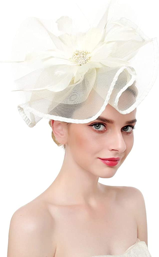 iLUGU Womens Fascinator Hat Summer Elegant Organza Cocktail Tea Party Cute Wedding Hair Clip Church Kentucky Derby Headwear