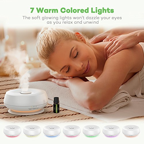 Essential Oil Diffuser 300ml Anjou Aroma Humidifier Ultrasonic Cool Mist Humidifier with Ultra-Quiet Operation (7 Changable Colors, BPA-Free, 4 Timer Mode, Up to 12H Use) by Anjou (Image #2)
