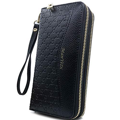 Wallet-NEWANIMA Women Multi-card Two Fold Long Zipper Clutch Purse (Style6-Black)