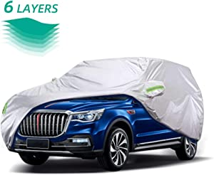 WOKOKO Car Cover, Waterproof SUV Car Covers 6 Layers All Weather UV Protection Windproof Snow-Proof Dust-Proof Scratch Resistant Universal Full Car Cover Fit for SUV, Sedan, Jeep, XL(190''-201'')