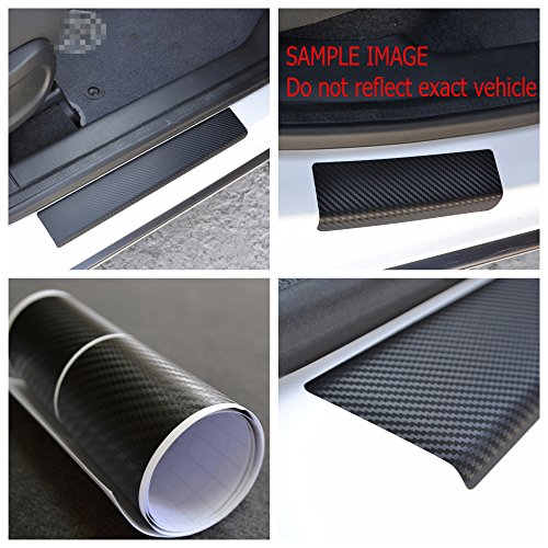Door Sill Vinyl Wrap Scuff Protection Film fit Citroen C4 Picasso 2006-2012 Black Carbon Fiber Texture Decals Entry Guard 4 pcs Kit Paint Protector