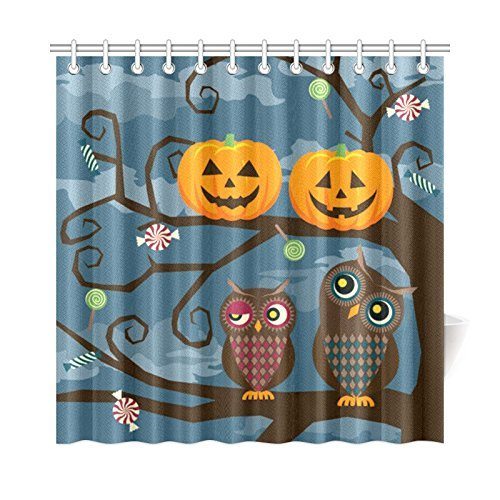 Yomyceo Cute Owl Couple and Halloween Pumpkin Home Decor, Autumn Holiday Greeting Polyester Fabric Shower Curtain Bathroom Sets 72 X 72 Inches