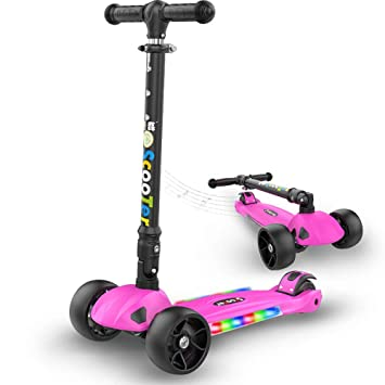 Amazon.com: PIAOL - Patinete de 3 ruedas para niños plegable ...
