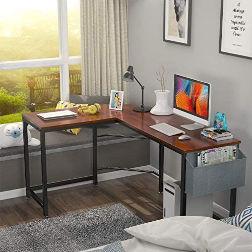 """Foxemart L Shaped Desk Corner Desk 58"""" Computer Gaming Desk PC Table Writing Workstation for Home Office, Large L Study Desk 2 Person Multi-Usage Tables Modern Simple Desk with Storage Bag & CPU Stand"""