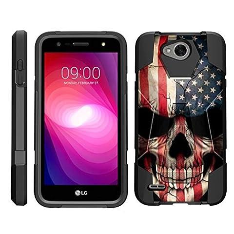 TurtleArmor   LG X Power 2 Case   LG K10 Power Case   LG X Charge Case [Dynamic Shell] Hybrid Dual Layer Hard Shell Kickstand Silicone Case - US Flag (Lg Dynamic 2 Phone Case Camo)