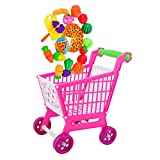 BARGAIN HOUSE Mini Shopping Hand Trolley Cart 24 pieces with Food Set Children Playground Playing Toys Gifts
