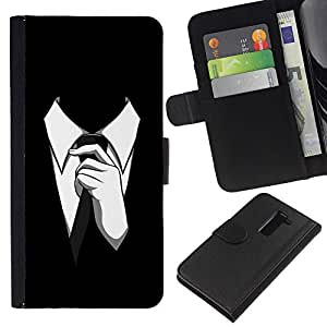 LG G2 D800 D802 D802TA D803 VS980 LS980 , la tarjeta de Crédito Slots PU Funda de cuero Monedero caso cubierta de piel ( Man Suit Tie Style Formal Outfit Black White)